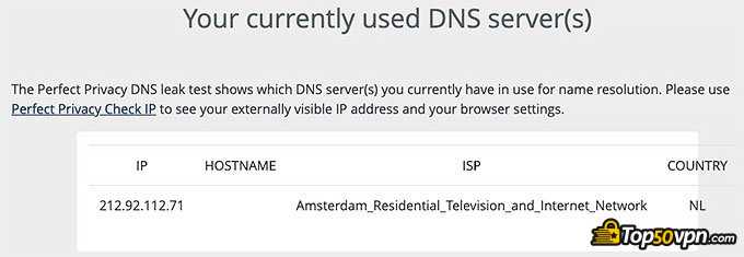 Private Internet Access: Prueba filtrado DNS.